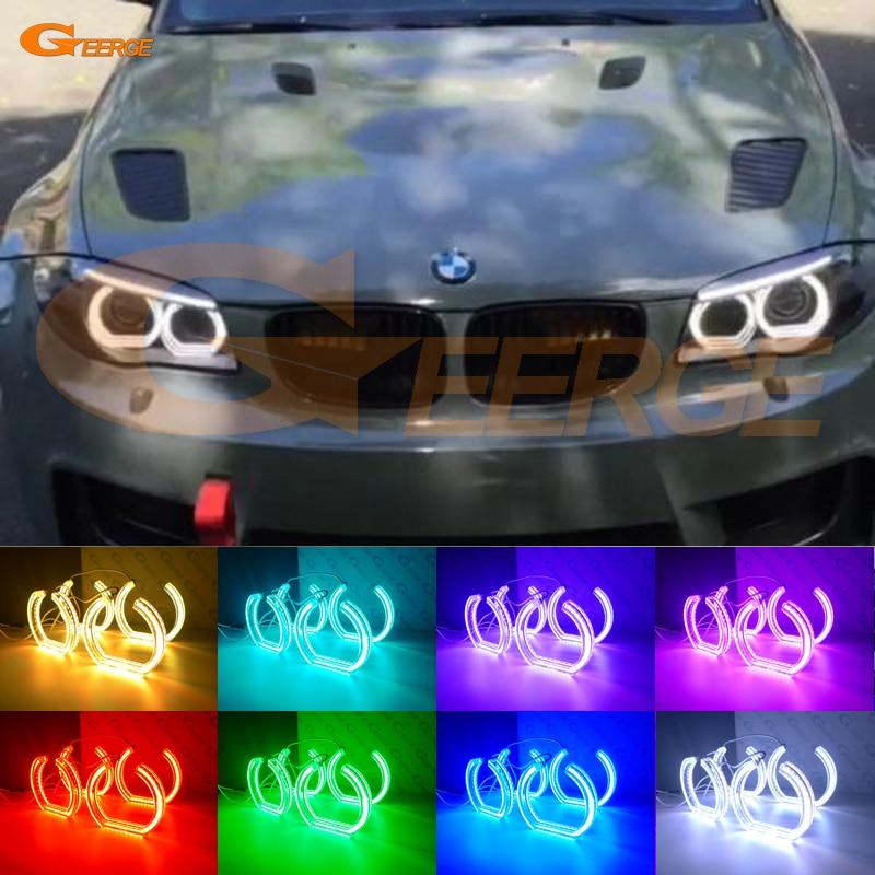 For BMW 1 Series E82 E88 E87 E81 2008 2009 2010 2011 Xenon headlight Excellent DTM Style Multi-Color RGB LED Angel Eye kit car styling trunk lid rear emblem badge chrome letters sticker 125i 128i 130i 135i for bmw 1 series f20 f21 e81 e82 e87 e88