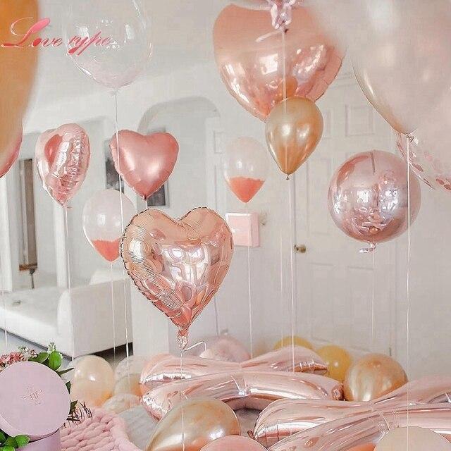 Love type Rose Gold Balloons Foil Champagne HeartStar Balloon