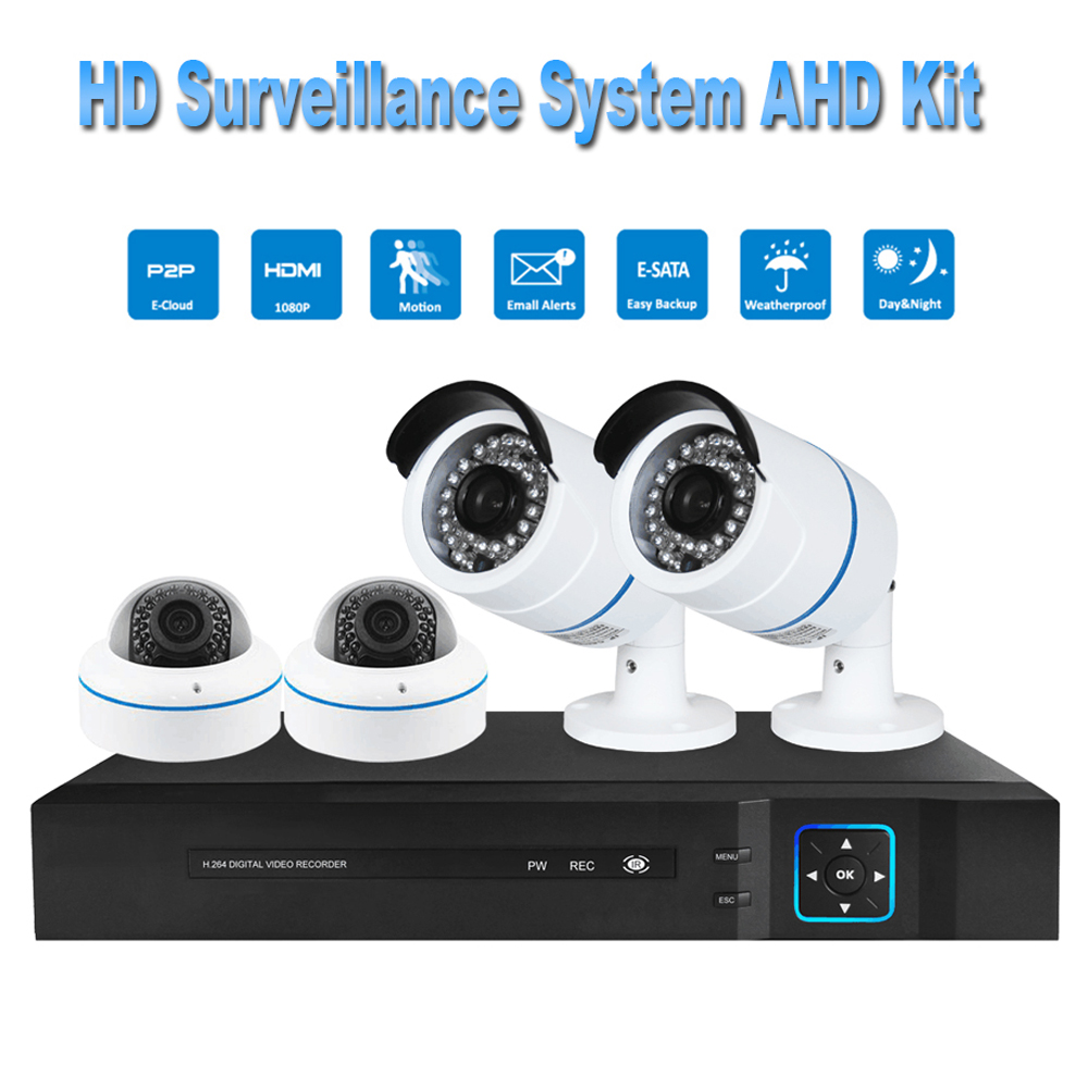 PUAroom 4CH HD 1080P IP66 night vision AHD camera RoHS FCC CE approved H.264 onvif video recording Home Security Camera System