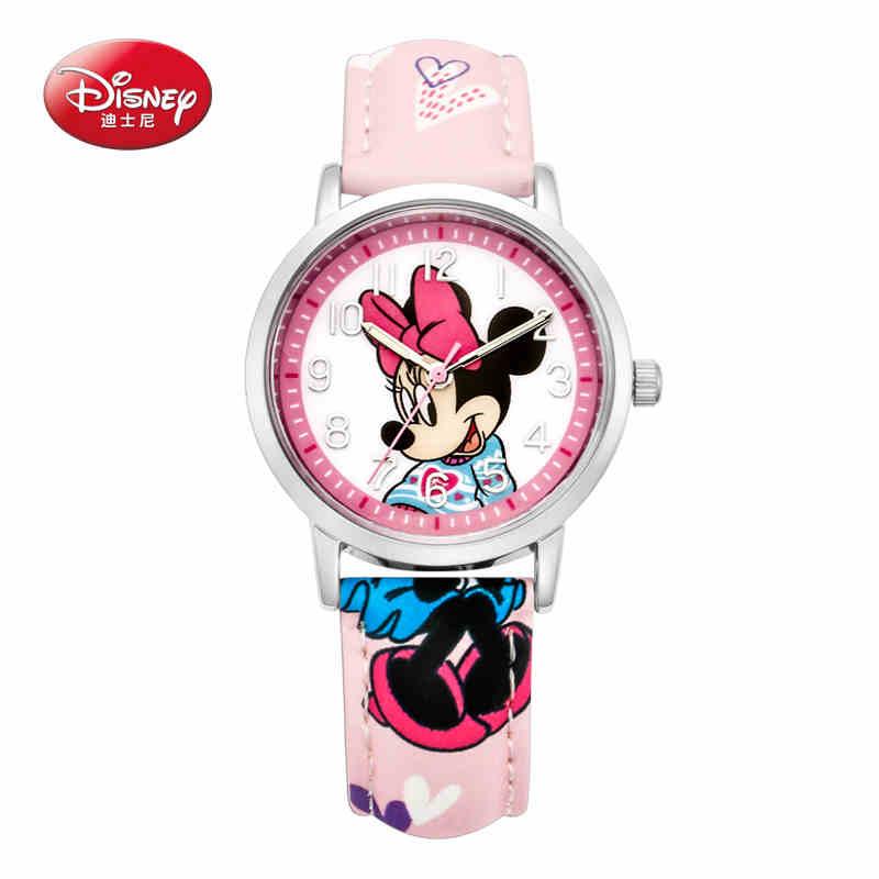 Children wrist watch Boy Girl Disney Brand Mickey Cartoon quartz 30M waterproof watch Leather Child watch