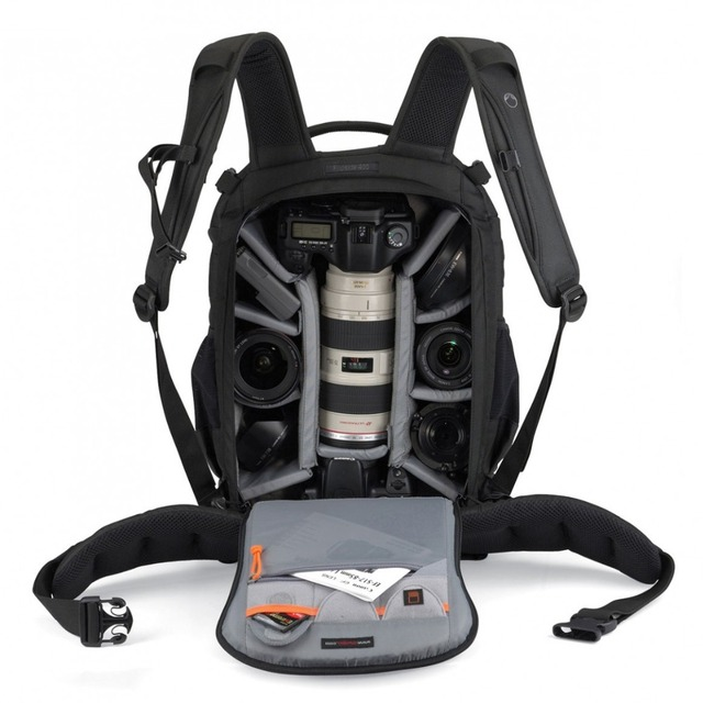 กันน้ำLowepro Flipside 400 AW Photoกระเป๋ากล้องดิจิตอลSLRขาตั้งกล้องเลนส์กระเป๋าเป้สะพายหลังสำหรับCanon Nikon Sony Xiaomi