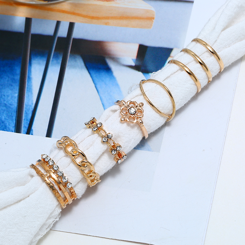 HOCOLE 8 Pcs Set Bohemian Crystal Gold Ring Set For Women Finger Vintage Geometric Ring Set Female Wedding Party Jewelry Gifts in Wedding Bands from Jewelry Accessories