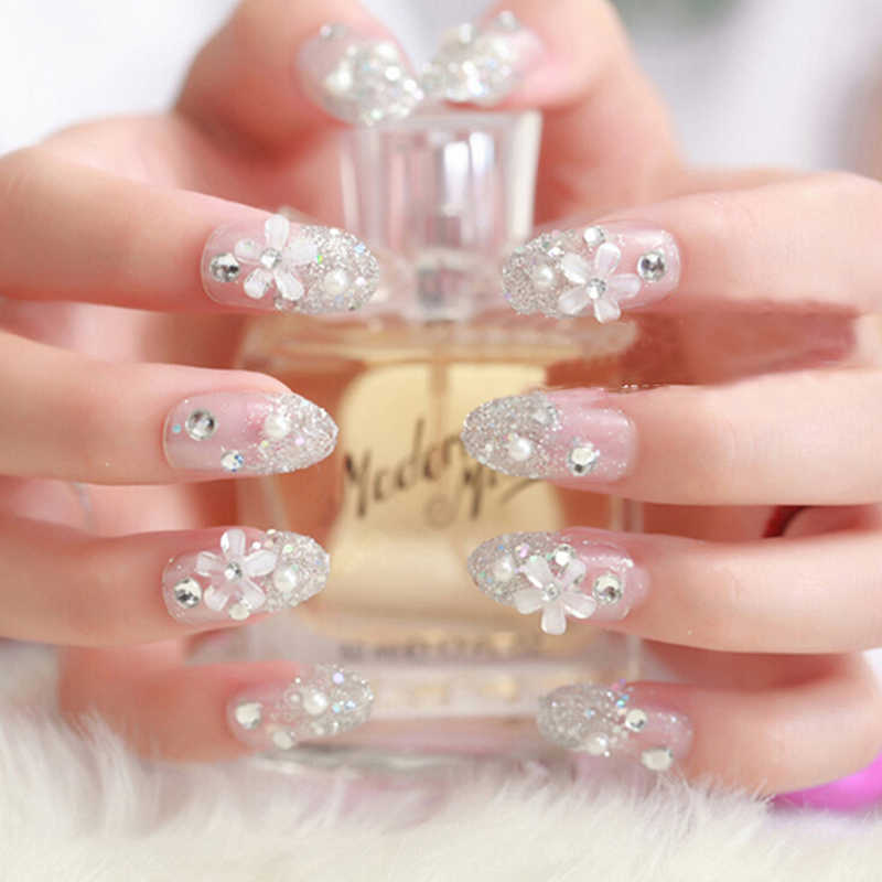 24pcs/set Artificial Bride 3D False Nails, Wedding French Diamond Finger Fake Nail Tips