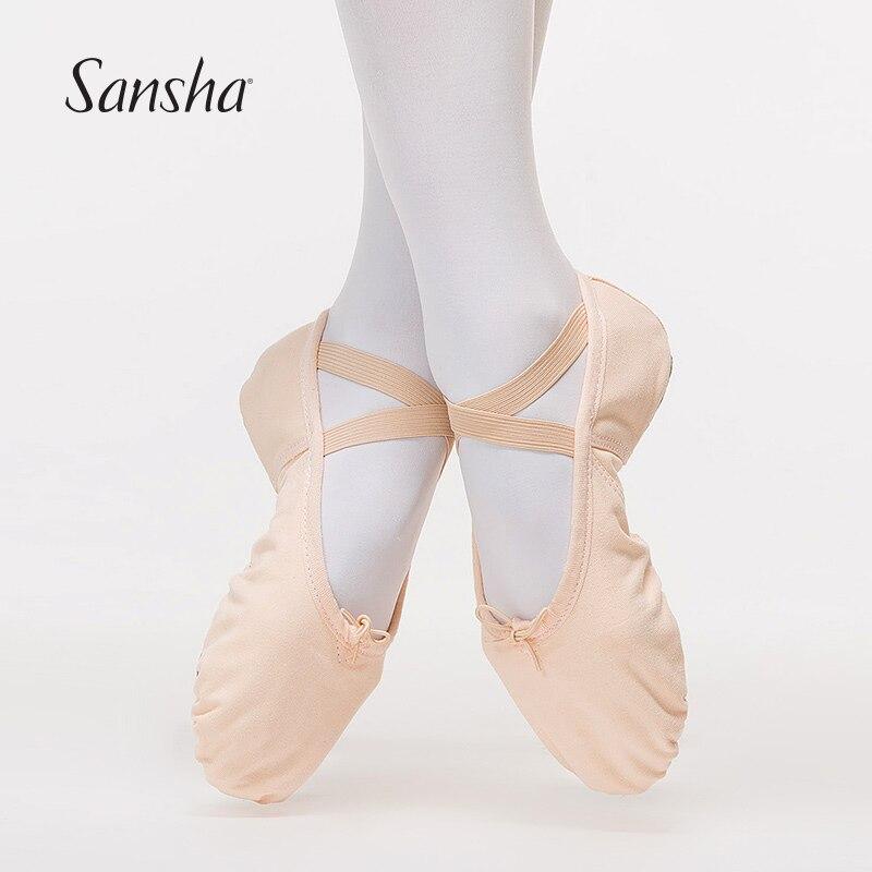Sansha Ballet-Shoes Canvas Girls Adult Women Pink/black For NO.3C Arch-Design Triangular