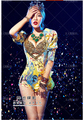New European and American women Nightclub jazz singer DJ stage costume sexy atmosphere ds printing shrug leotard Rompers