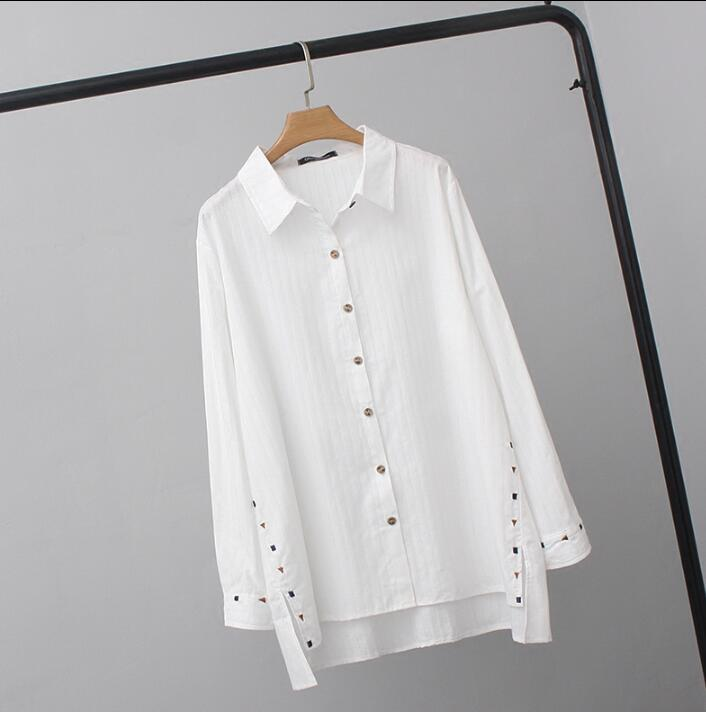 Women's Blouses Tops White Blusas 2019 long sleeve embroidery women clothes plus