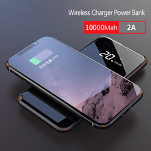 10000mAh Qi Wireless Charger Power Bank for iPhone X 8 Plus 5V/2.1A Battery Powerbank LCD Dual USB Wireless Charger For Samsung(China)
