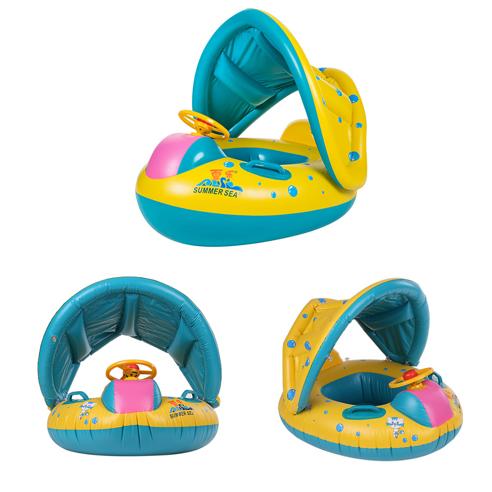 Safe Inflatable Baby Swimming Ring Pool Infant Swimming Float Adjustable Sunshade Seat Bathing Circle Inflatable Ring Summer Toy dual slide portable baby swimming pool pvc inflatable pool babies child eco friendly piscina transparent infant swimming pools
