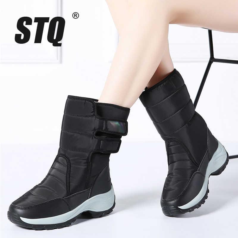 60dc092b7f141 STQ 2019 Winter Women Snow Boots Platform rubber ankle boots women high  warm fur plush rain