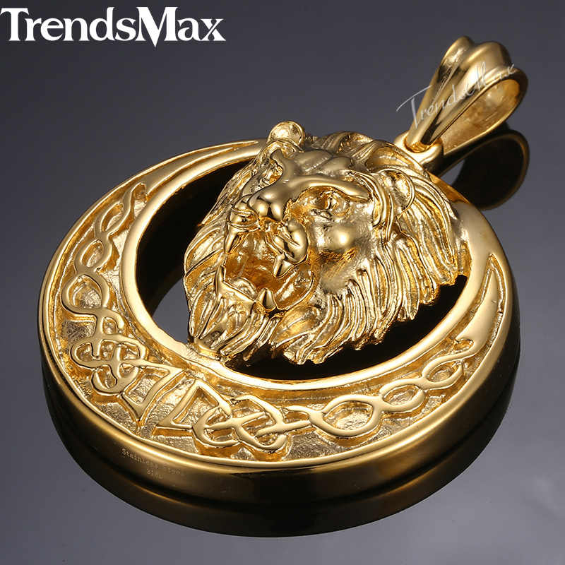 Dropshipping 2018 Lion Pendant Necklace For Men Gold Silver Black Stainless Steel Chain Necklace Men Hip Hop Jewelry HP97