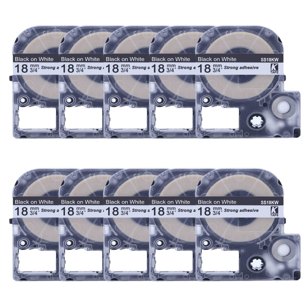 CIDY 10pcs lot wholesale 18MM Black on White SS18KW LC 5WBN tape for kingjim epson with