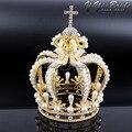 New 155*117mm Big Crown Crystal With Pearl Tiara Wedding Crown Bride Womens Head Band Vintage Baroque Royal HairBand Accessories