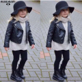 Baby Boys Leather Jacket Kids Girls And Coats Spring Kids Leather Jackets Boys Black Solid Children Outerwear 2016 New US $21.69