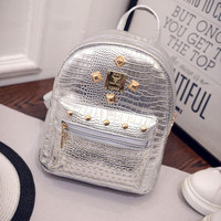 Hot Sale Women PU Leather Backpack Rivet Stud Punk Style Ladies Girl Casual School Backpacks Bolsa