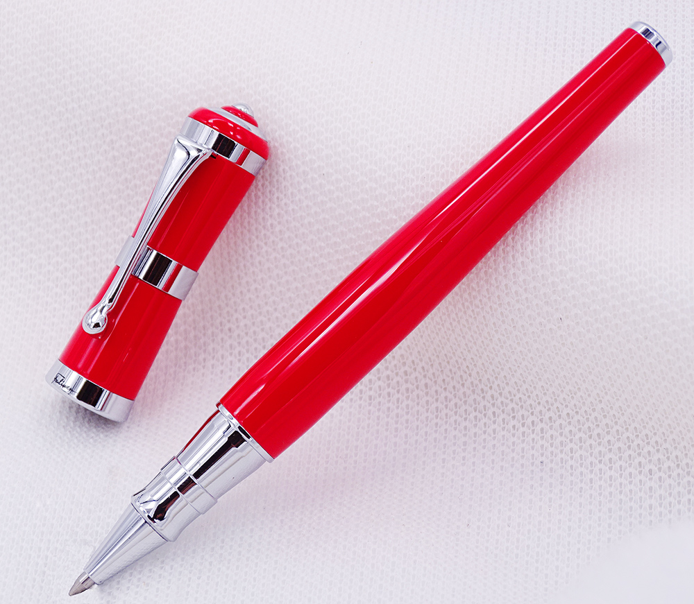 Fuliwen 2051 Metal Rollerball Pen, Fresh Fashion Style Fine Point 0.5mm Beautiful Red for Office Home School, Men and Women fuliwen 2051 metal rollerball pen with ink refill fresh fashion style beautiful cream for office home school men and women