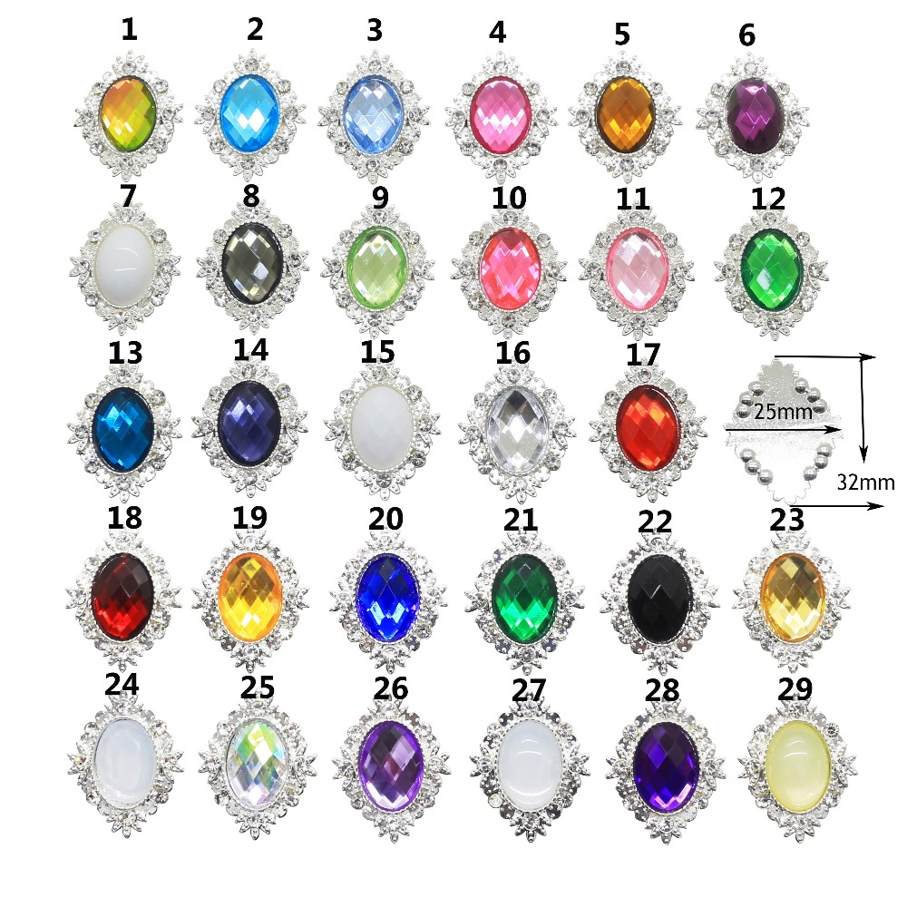 Detail Feedback Questions about NEW 29 colours 10pcs Metal Acrylic buttons  DIY Diamond Rhinestone button Flat back Invitation gail hair bowknot Flower  ... e670eeed3b63