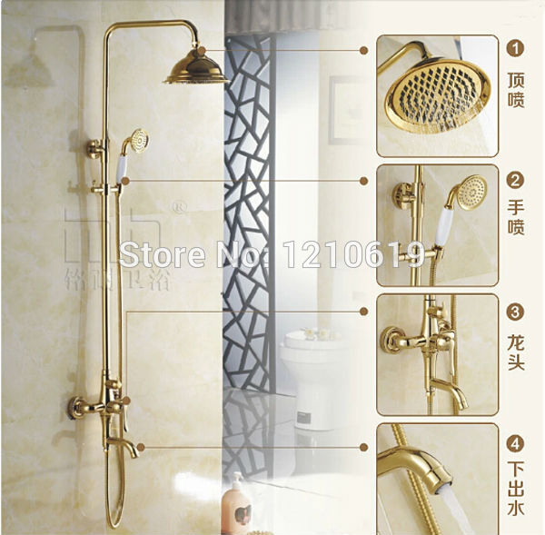 Newly US Free Shipping Solid Brass Shower Faucet Set Golden Polish Rain 8 inch Shower Head W/ Ceramics Hand Shower Wall Mounted
