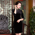 2017 Autumn Fashion Velvet Cheongsams Retro Chinese Dresses Women's Black Party Dress Chinese Traditional Qipao S-XXXL