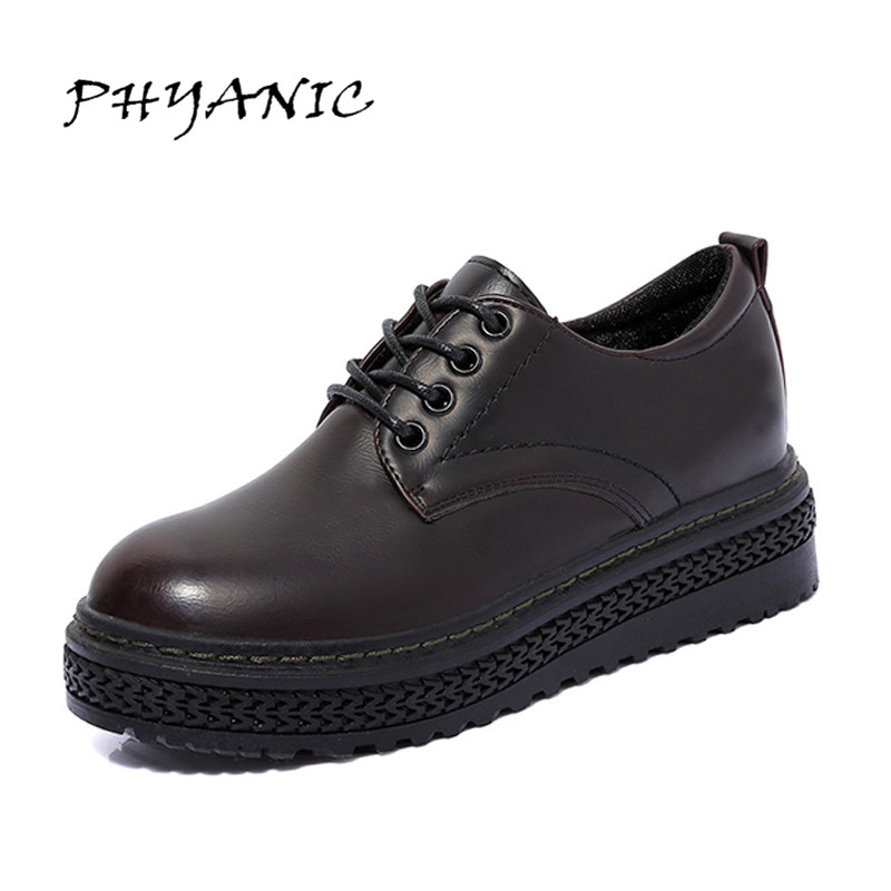 PHYANIC High Quality Women Oxfords Flats Platform Shoes Split Leather Lace-up Round Toe Creeper Black/WineRed Loafers PHY0982 цена и фото