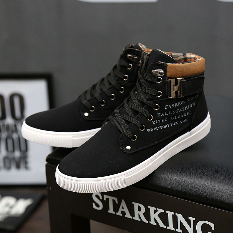 Men's Spring Casual High-Top Shoes Vintage Lace-up Martin Boots Outdoor Flat Shoe