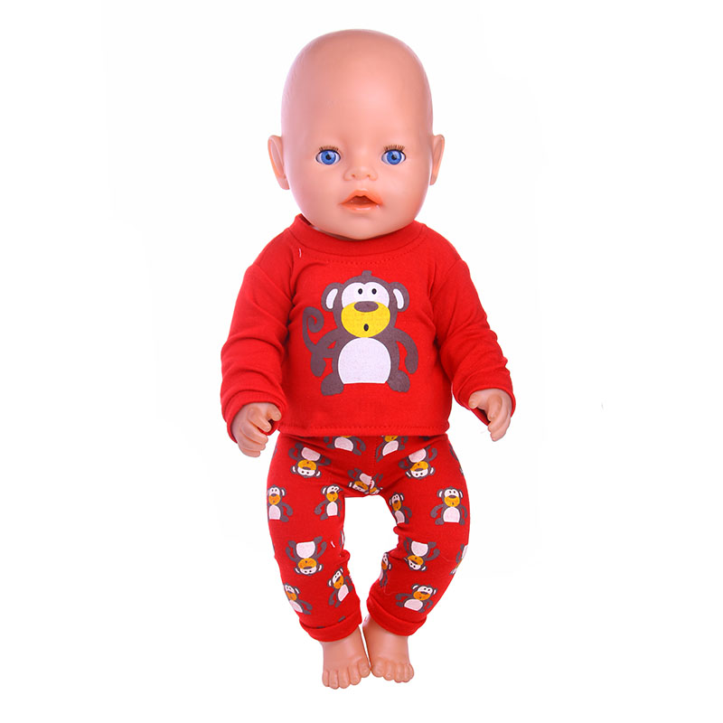 Monkey pattern Doll Clothes Wear Fit 43cm Baby Born zapf Doll,Children best Birthday Gift 2color choose leisure dress doll clothes wear fit 43cm baby born zapf children best birthday gift only sell clothes