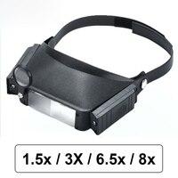 1.5x 3x 6.5x 8x Helmet Magnifying Glass Thứ Ba Tay Chiếu Sáng Magnifier với LED Light cho Việc Đọc hoặc Đồng Hồ Đồng Hồ Sửa Chữa