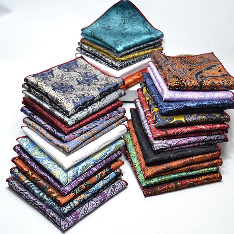 Men's Wedding Pocket Square 100% Silk For Suit Tie Cravat Men's Handkerchief Accessories Jacquard Solid Floral Pattern