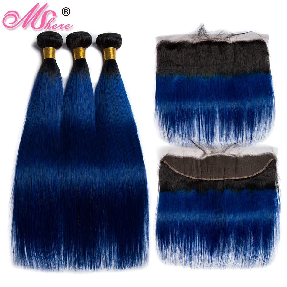 Mshere Straight Ombre Hair 3 4 Bundles With Frontal Closure 1B Blue Malaysia Human Hair Weave