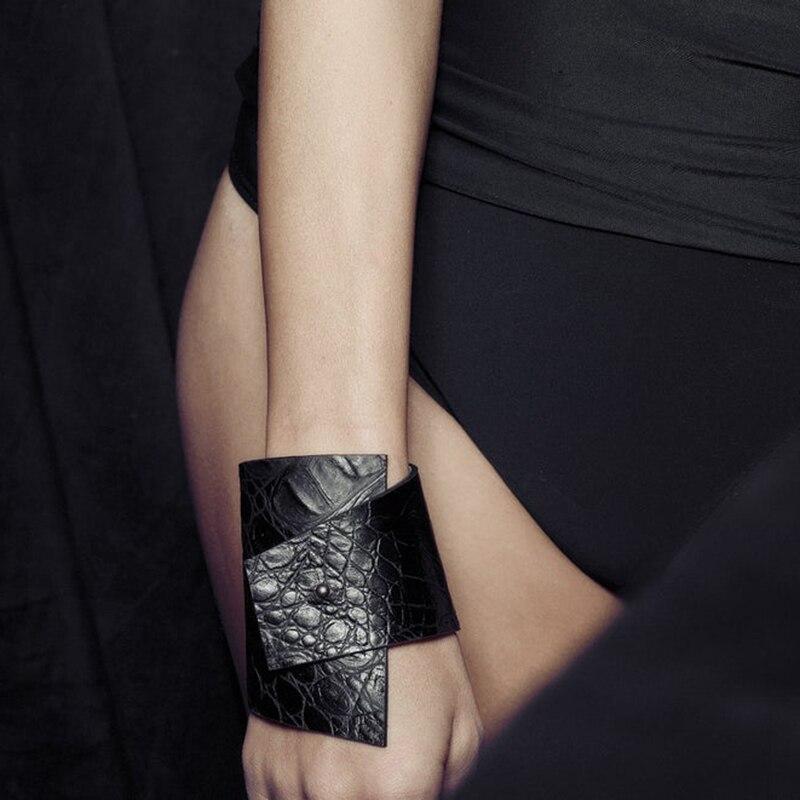 YD&YDBZ Fake Crocodile Leather Bracelet Fashion Irregular Jewelry Women's Bracelets Can Adjustable Punk Black Leather Jewellery