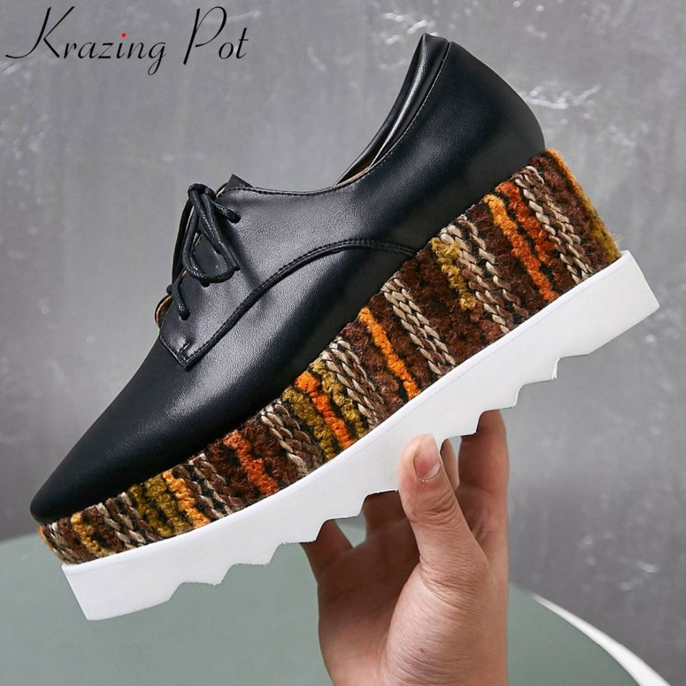Krazing Pot European Punk style wedges high bottom platform square toe real cow leather lace up mixed colors big size pumps L08Krazing Pot European Punk style wedges high bottom platform square toe real cow leather lace up mixed colors big size pumps L08