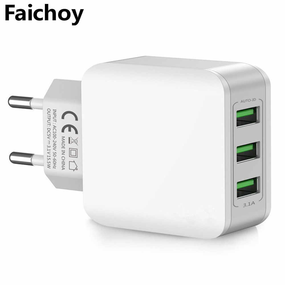 3 USB с двойным портом зарядное устройство дорожное настенное зарядное устройство быстрое зарядное устройство для мобильного телефона s адаптер 5 V/3.1A EU зарядное устройство для iPhone huawei samsung