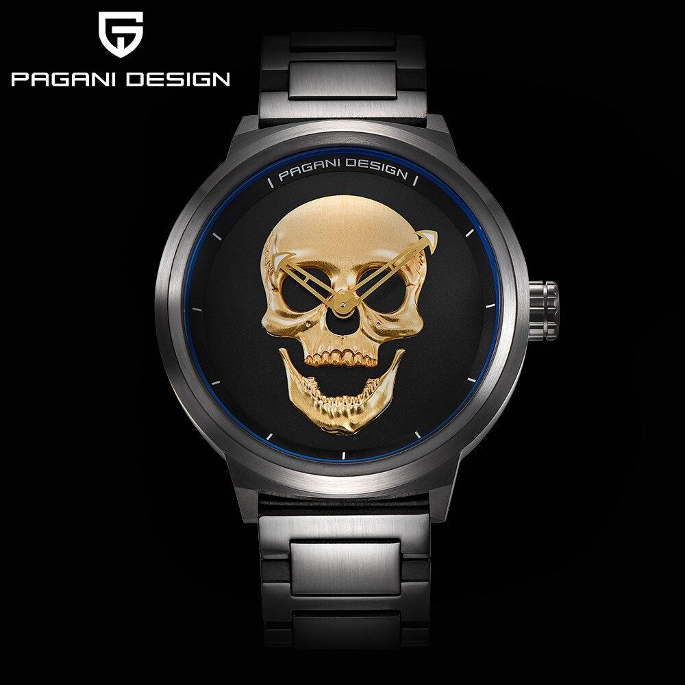 2019 Pagani pirat 3D czaszka Personaliz zegarki kwarcowe mężczyźni zegarek marki męskie sportowy zegarek w stylu wojskowym wodoodporny Relogio Masculino w Zegarki kwarcowe od Zegarki na  Grupa 3