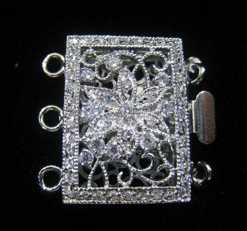 En gros Qualité raffiné diy plaqué or perle cristal collier bracelet fermoir fleur boucle