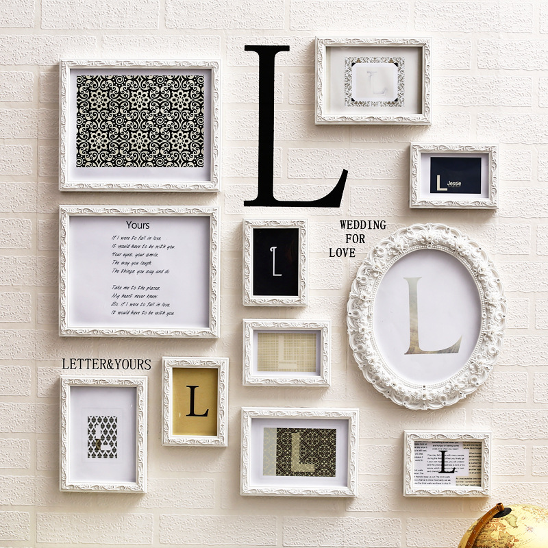 Modern Wooden Carved Frames for Family Photos Frames 11Pcs DIY L letters Wall Hanging Picture Frame quadros de parede para sala
