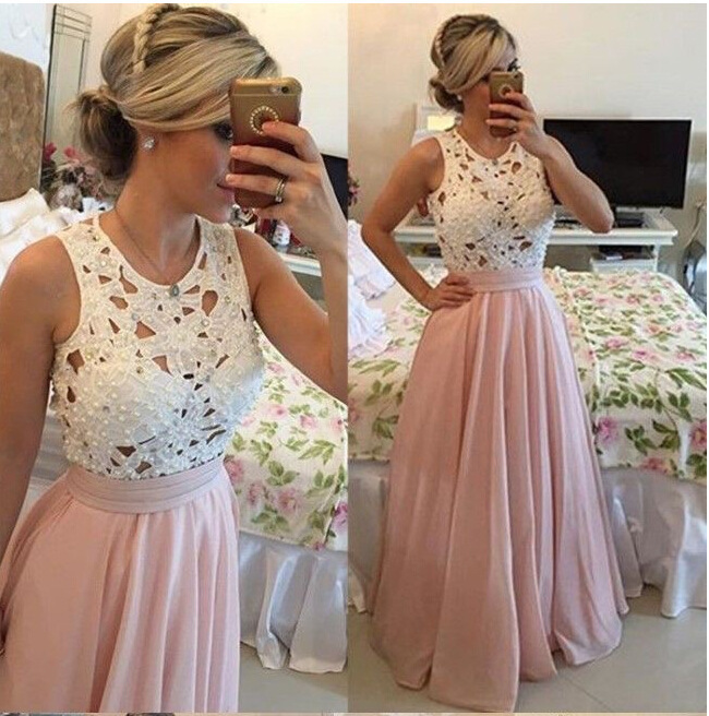 2018 New   Prom     Dress   O-Neck Sleeveless Chiffon Banquet Party Gown Pink Lace Pearl   Prom   Long Elegant   Dresses   Vestido De Festa