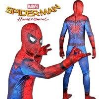 Yeni Örümcek Adam Homecoming Kostüm Genç Boy Örümcek Adam Cosplay Tom Hollanda Sürümü Tam Vücut Zentai Suit Çocuklar Süper Kahraman Kostümleri