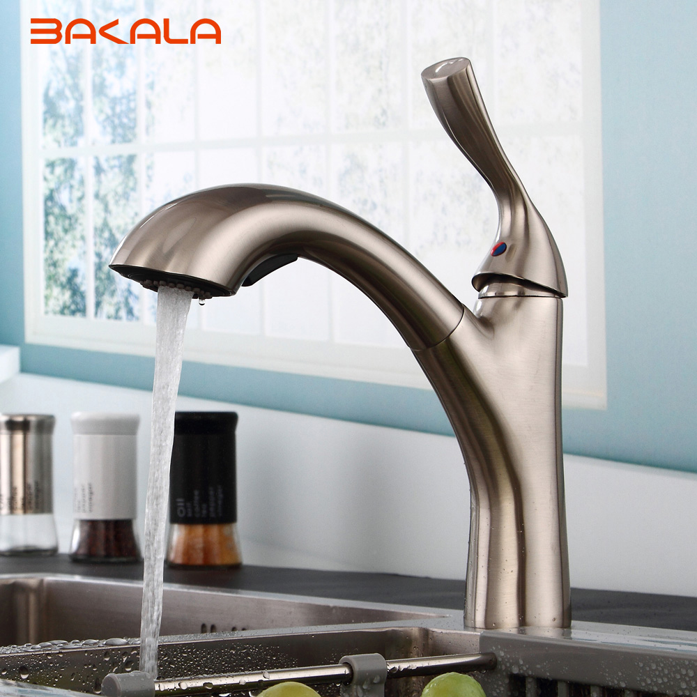 BAKALA New design pull out faucet brush silver kitchen sink Mixer tap kitchen faucet vanity faucet cozinha new design pull out kitchen faucet chrome 360 degree swivel kitchen sink faucet mixer tap kitchen faucet vanity faucet cozinha