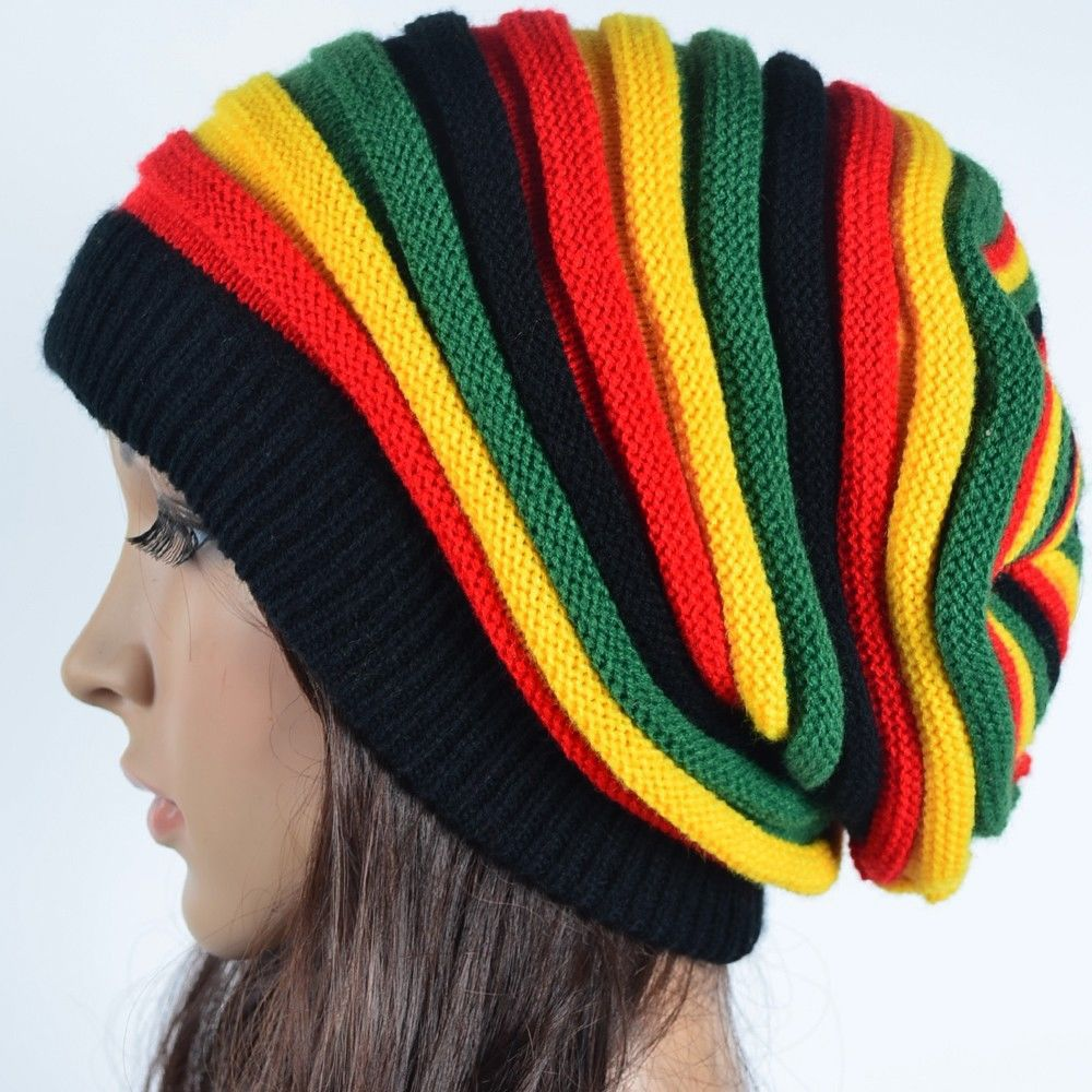 Free Shipping 2019 Winter Hip Hop Bob Marley Jamaican Rasta Reggae Multi-colour Striped   Beanie   Hats For Mens Women