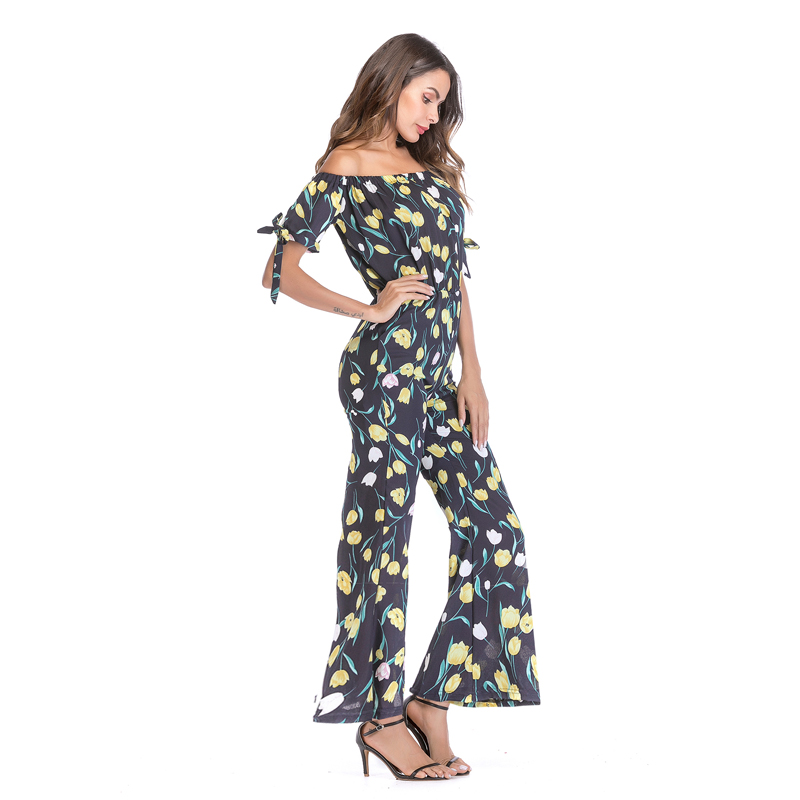 aa90d20839 2019 2018 Women Vacation Bohemian Beach Boot Cut Jumpsuit Vintage ...