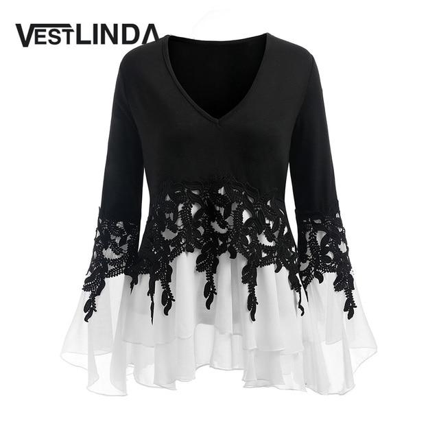 fbf8c357bde VESTLINDA Plus Size 5XL Applique Layered Flare Sleeve Chiffon Panel Flowy Blouse  Women Tops Clothing Blouse