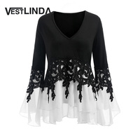 VESTLINDA Plus Size 5XL Applique Layered Flare Sleeve Chiffon Panel Flowy Blouse Women Tops Clothing Blouse