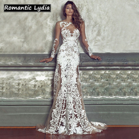 Women Luxurious Floral Party Long White Lace Dresses Vintage Bodycon Sexy Floor Length Maxi Dress High Quality