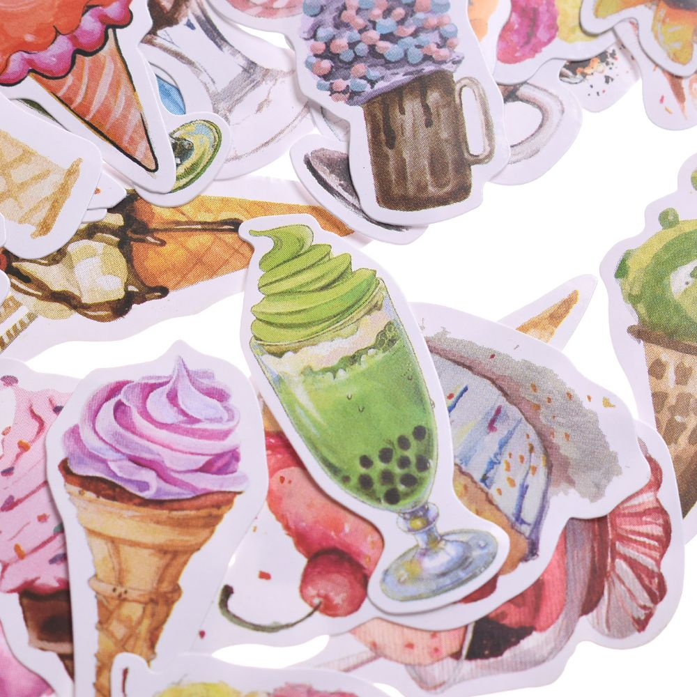 50pcs Colorful Ice Cream Stickers Set Decorative Stationery Stickers Scrapbooking DIY Diary Album Stick Lable