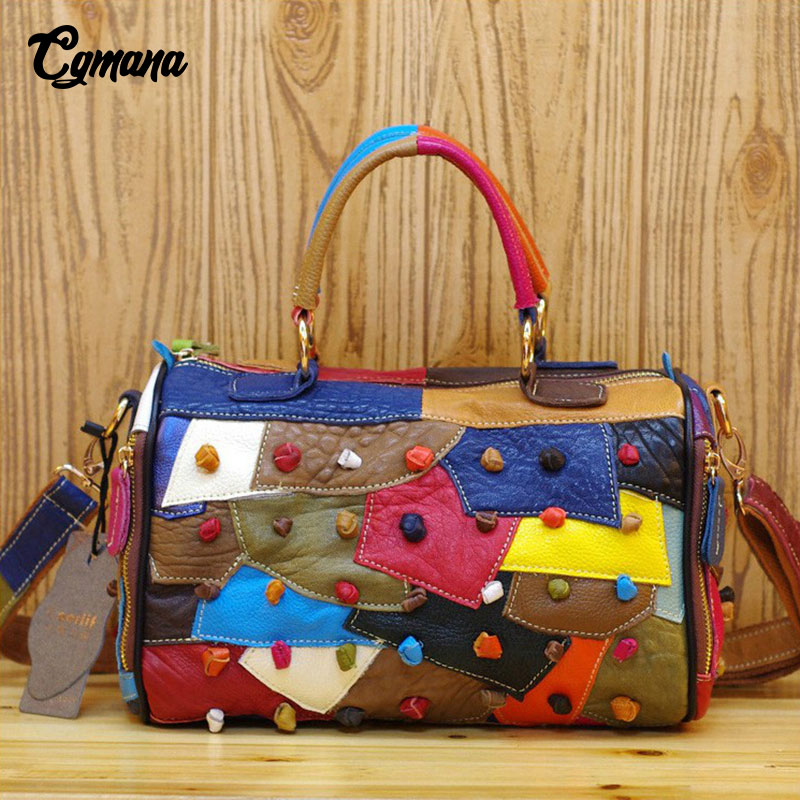 Genuine Leather Women Handbags 2019 New Handmade Colorful Patchwork Handbags Large Capacity Luxury Bags Casual Tote