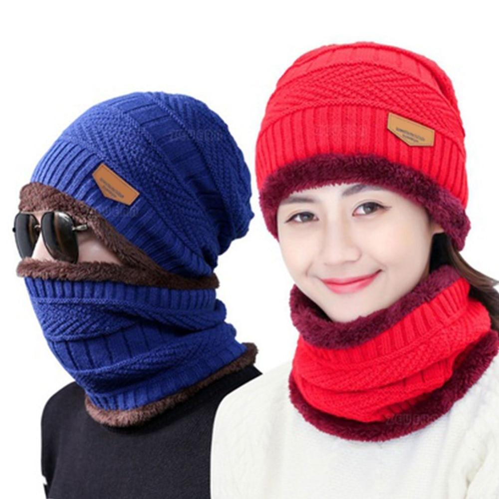 Winter 2 Pcs Scarf Hat set Neck warmer Women Men Thick Knitting Female Male Knit Beanie Scarf Hedging Cap Scarves skullies bonne