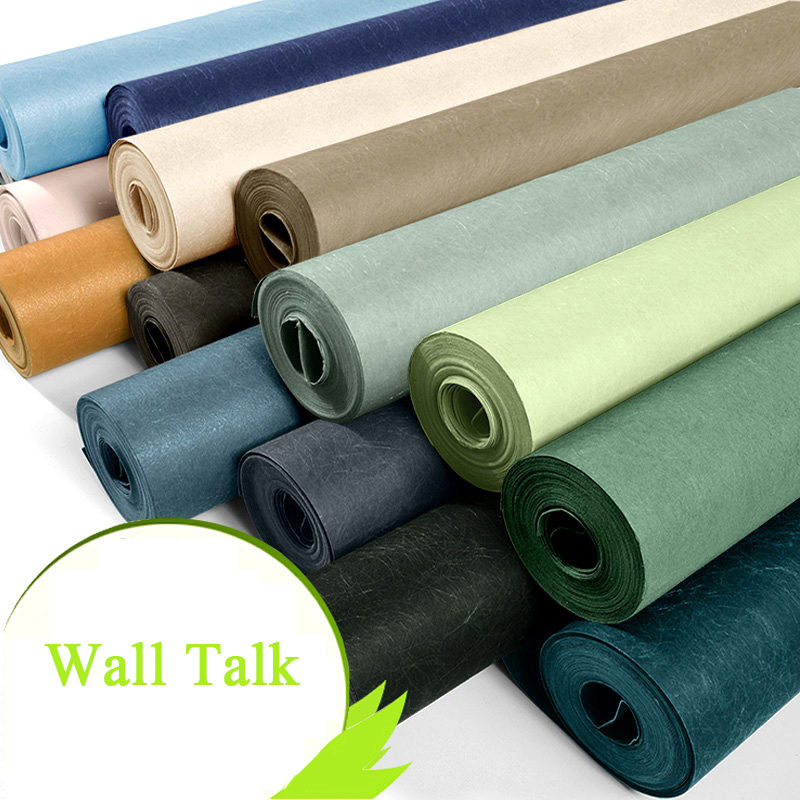 Купить с кэшбэком Modern Plain Wall Papers Home Decor Solid Color Silk Textured Wallpaper for Walls Fabric Bedroom Wall Paper Green Blue