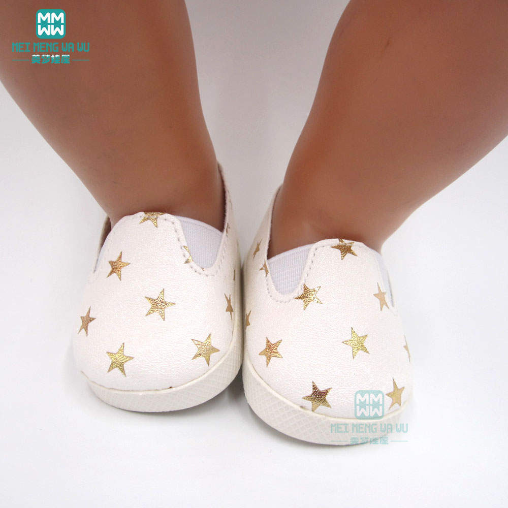 Fashionable White Sneakers Baby Shoes For Doll Fit 43 Cm New Born Dolls Accessories