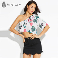 Vintacy Women One Shoulder Crop Tops Blouse White Floral Ruffles Backless Croptop Casual Fashion Female Plus