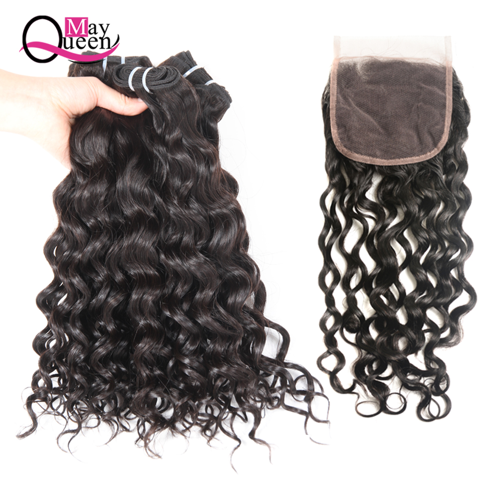 May Queen Hair Water Wave Bundles With Closure 4*4 Free Part Cuticle Aligned Hair Brazilian Hair Weave Bundles