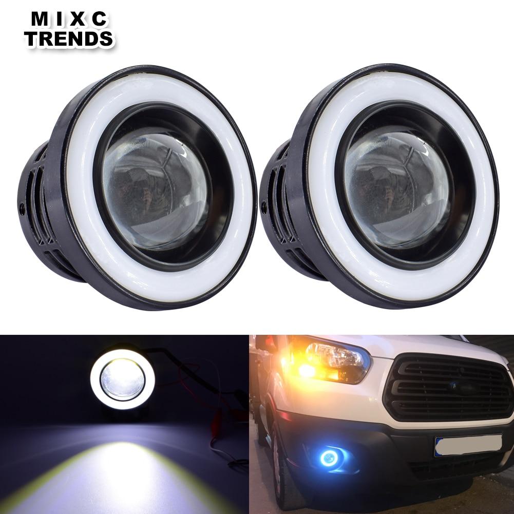 """2 X 4/"""" WHITE SPOT LIGHT BLUE LED CHROME ANGEL EYE FOG LIGHT 12V CAR 4 INCH TRUCK"""